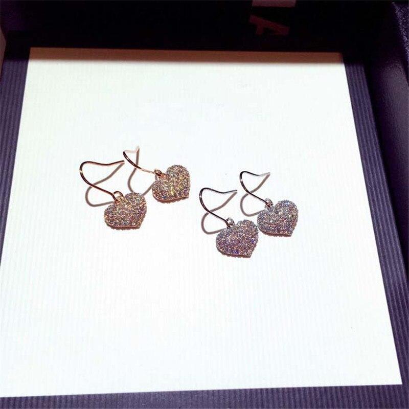 Бриллиантами ювелирное изделие в виде сердца, S925 стерлингового серебра серьги для женщин, хорошее ювелирное изделие, модное ювелирное изде...