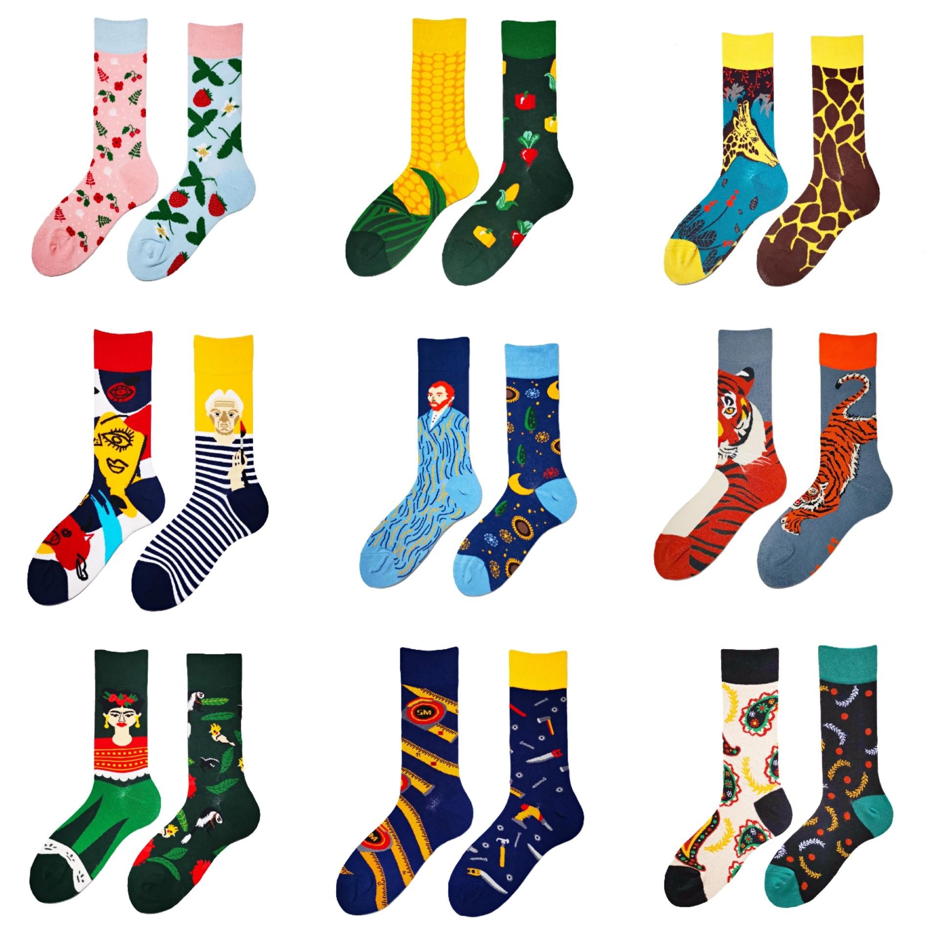 Мультяшные носки, зимние носки, мужские и женские чулки, Мультяшные уличные крутые хлопковые носки, модные дизайнерские носки для пар