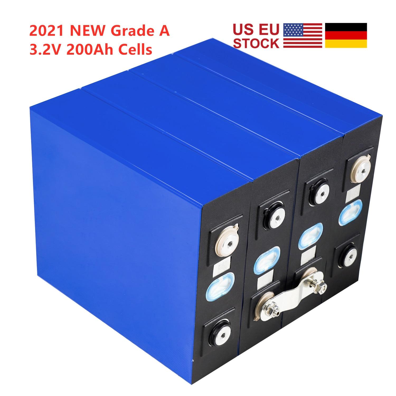 2021 جديد الصف 4 قطعة LIFEPO4 3.2v200AH قابلة للشحن بطارية الخليوي كود QR 12V 24V 48V لا 280Ah RV الشمسية البحرية الاتحاد الأوروبي لنا ضريبة شحن