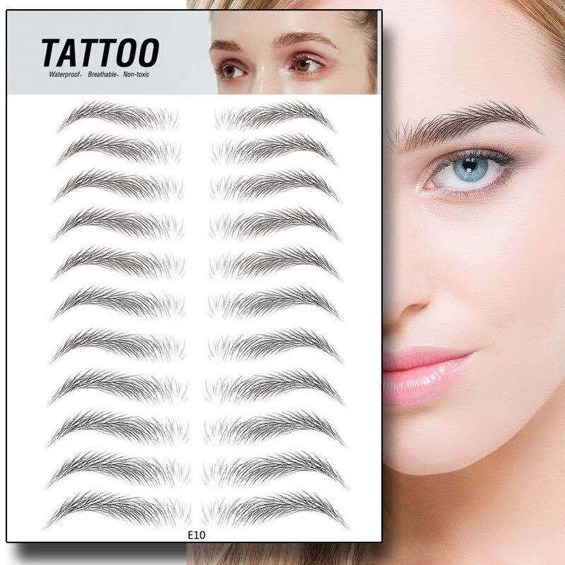 8 Style 4D Hair-like Eyebrows Makeup Waterproof Long Lasting Eye Brow Tattoo Sticker False Eyebrow Henna Korea Cosmetic