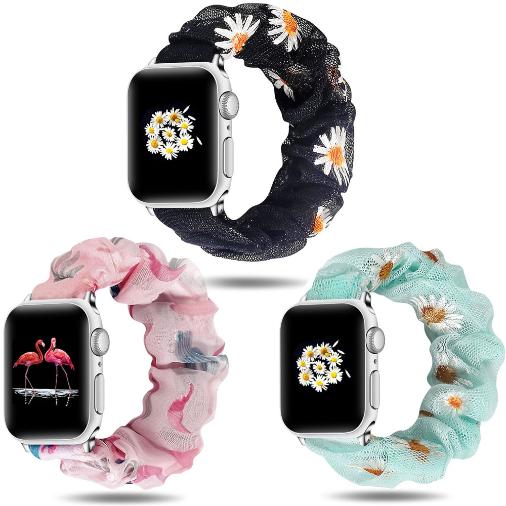 Correas elásticas de reloj Scrunchie para Apple Watch Band 5 4 3 2 38mm 40mm 42mm 44mm para iwatch Series pulsera 5 4 3