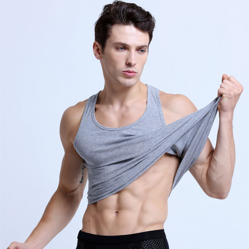 Men's Vest Pure Cotton Youth Tight Bottoming Sports Sleeveless Cantilevered Bodybuilding I-shaped Vest Men's Summer Fashion