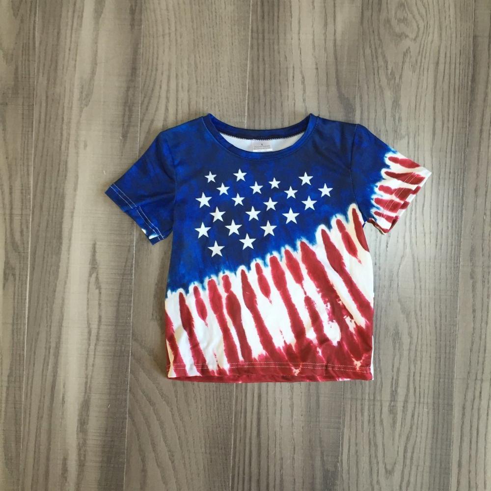 Детский галстук для мальчиков, футболка с рисунком красителя детская футболка на День Независимости, 4 июля Детская летняя футболка с короткими рукавами