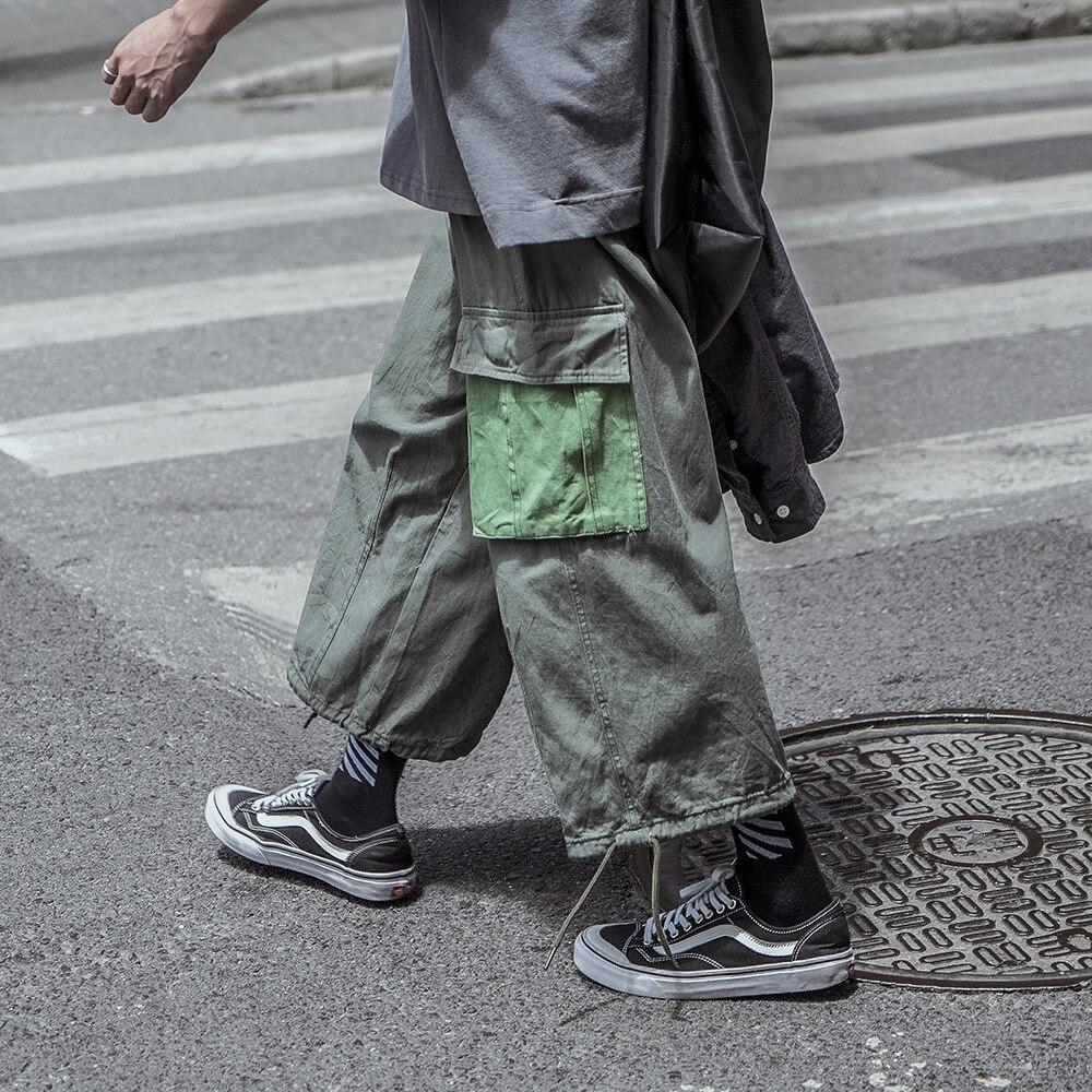 Лоскутные брюки карго Брюки мужские свободные спортивные штаны с большими карманами для мужчин шнурок шить треники японский уличной моды