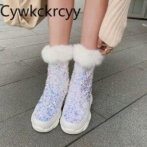Женские теплые ботинки из кроличьего меха, с круглым носком и блестками, размеры 34-46