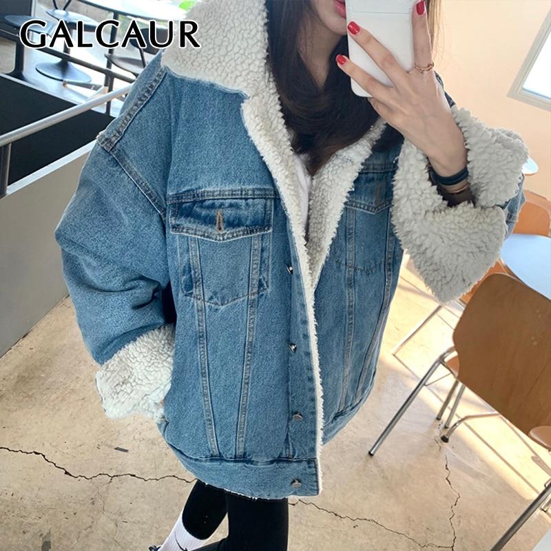 GALCAUR الكورية موضة القطن الدنيم معطف للنساء التلبيب طوق طويلة الأكمام واحدة الصدر السترات الإناث الملابس 2021 الشتاء