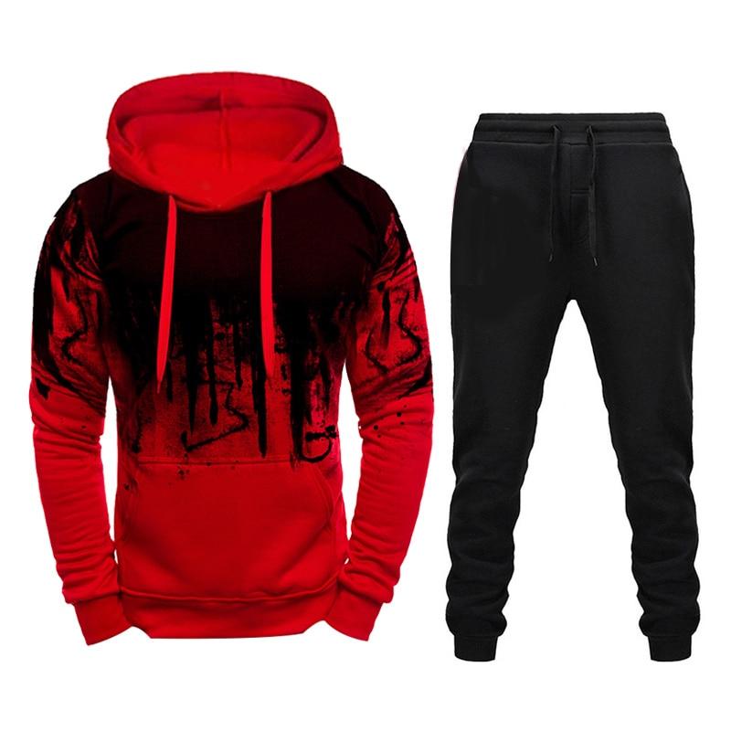 Marca de invierno chándal Casual Hoodies para hombres ropa deportiva conjuntos de dos piezas de sudadera roja gruesa + pantalones traje deportivo más 4XL