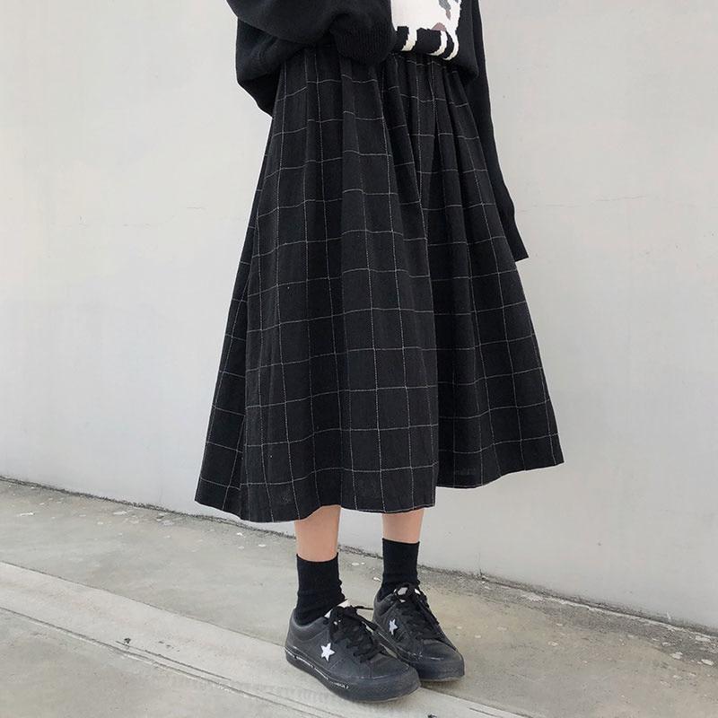 اليابانية المرأة مطوي تنورة ، عالية الخصر مرونة منقوشة تنورة ، 2 الألوان والخريف والشتاء