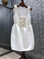sexy v neck dress 2021 summer princess party ladies beading bow deco sleeveless elegant white black dress vestidos robe mujer
