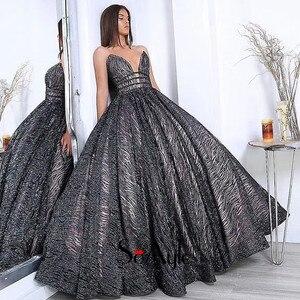 SoAyle Evening Dresses Ball Gown Long Sparkly Deep V-neck Sequin African Evening Dress Vestidos De Festa Women Dress Color
