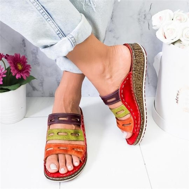 2020 New Summer Women Sandals 3 Color Stitching Sandals Ladies Open Toe...
