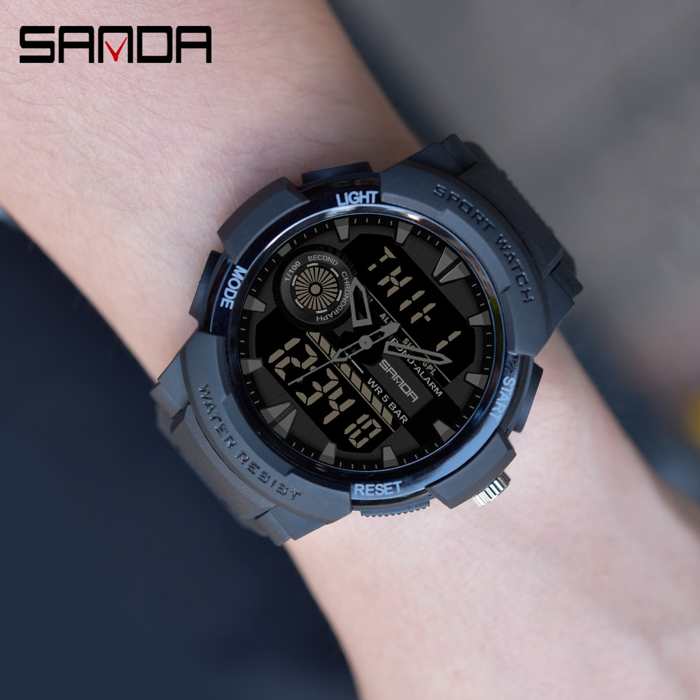 SANDA-ساعة رياضية للرجال ، كرونوغراف متعدد الوظائف ، مقاومة للماء ، رقمية ، LED ، عسكرية ، كوارتز