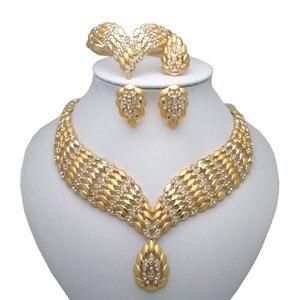 Kingdom Ma  Fashion African Dubai Gold Jewelry Women African Beads Set Nigerian Bridal Jewelry Sets Wedding Accessories Gift
