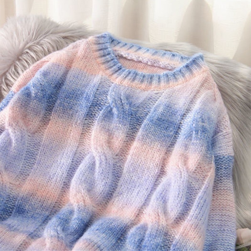 Autumn Winter Women Rainbow Sweaters Tie Dye Pullover O-Neck Long Loose Striped Korean Jumpers Candy Color enlarge