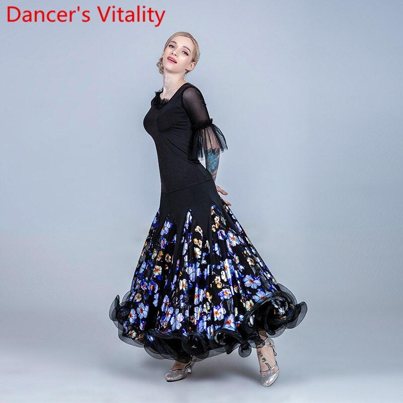 جديد الحديثة قطع متوهج كم أعلى تنحنح تنورة الوطنية القياسية الرقص تنورة قاعة الرقص المنافسة ثقب زي