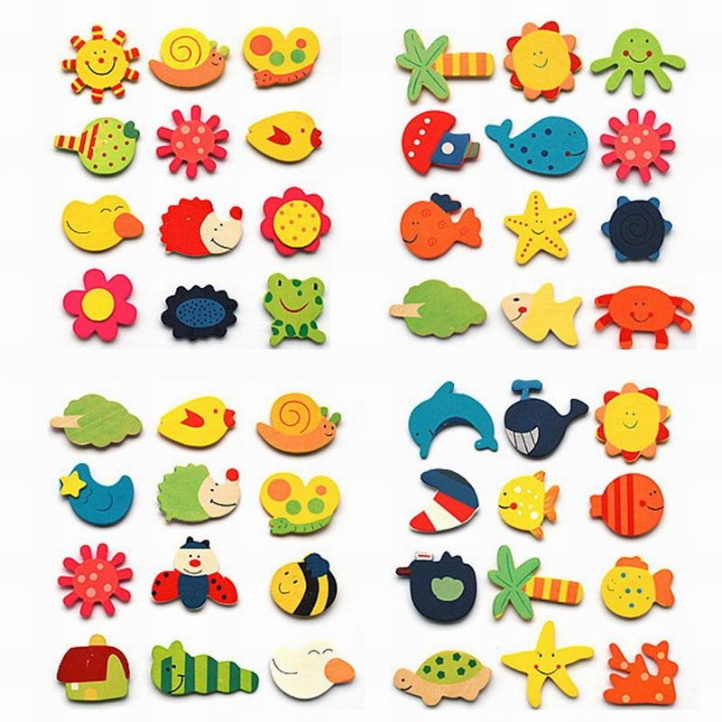 12 unids/lote madera Animal de dibujos animados pegatinas colorido de madera de dibujos animados imanes de nevera de niño bebé niños juguetes regalos decoración para el hogar