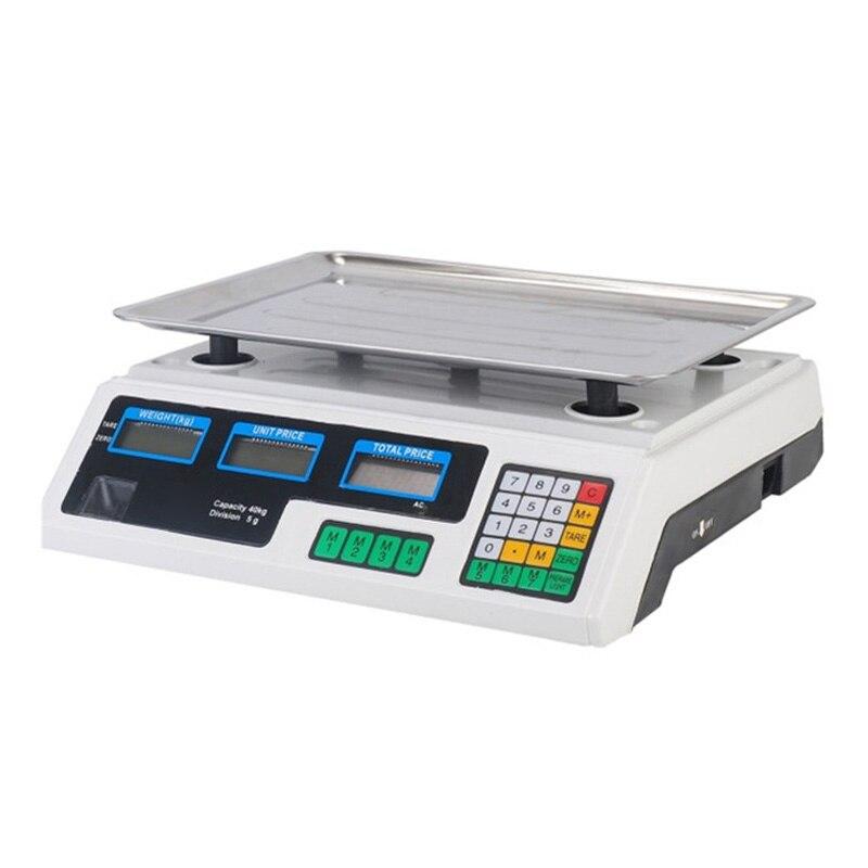 30 كجم/40 كجم ميزان إلكتروني محمول النسخة الإنجليزية LED مقياس التسعير الإلكترونية المطبخ مقياس الدقة أداة قياس