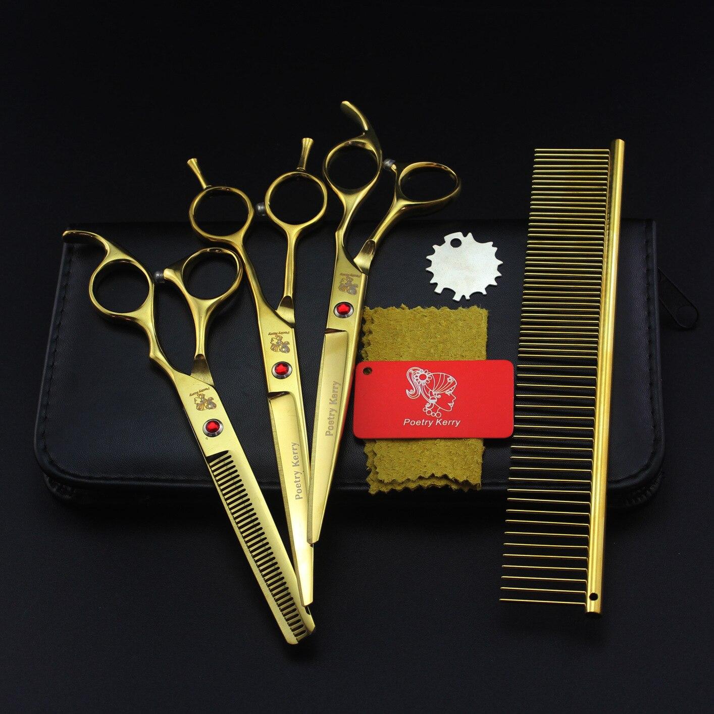 Banhado a Ouro Corte em Linha Polegada Peças Grooming Tesoura Reta Conjunto Dente Denso 7.0 4 Pet