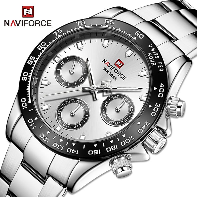 NAVIFORCE Top Brand Sports Quartz Watches Luxury Gold Stainless Steel Watch Male Waterproof Wrist Wa