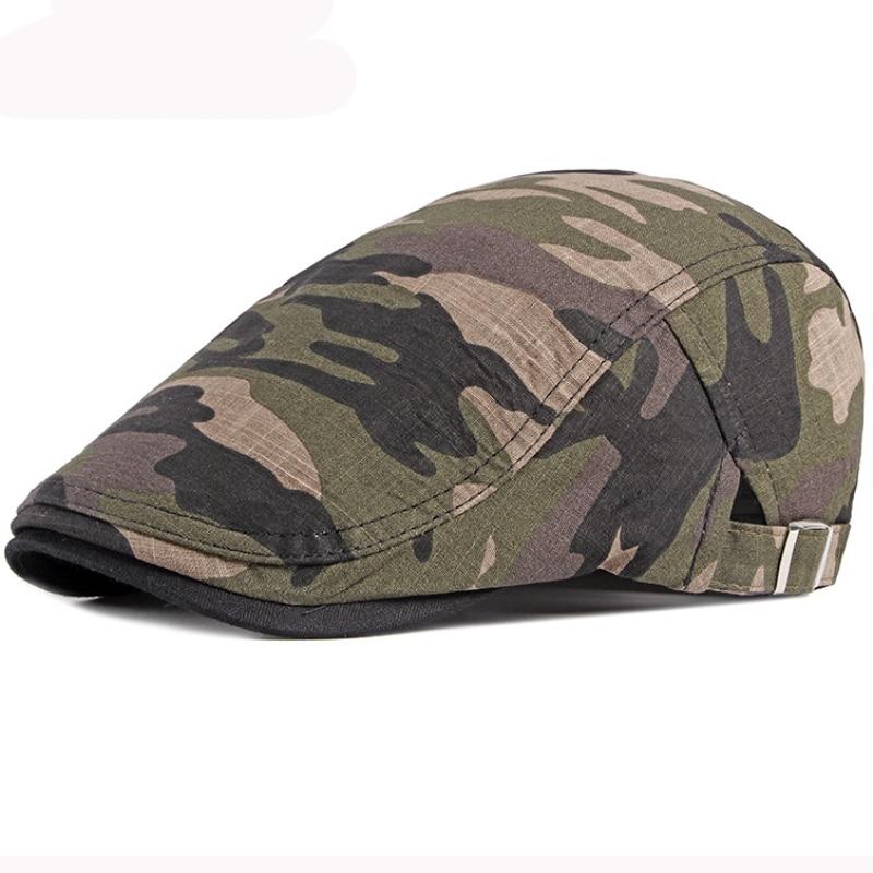 HT3011 Beret Cap Men Spring Summer Camouflage Army Cap Cotton Adjustable Beret Hat Vintage Newsboy Ivy Flat Cap Men Women Berets