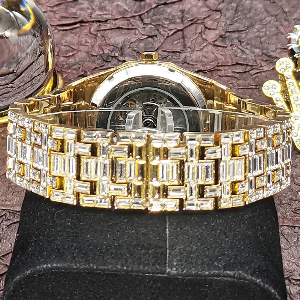 Hip Hop Hollow MISSFOX Mechanical Men Watches Full Diamond 18K Gold Bling Watch Waterproof Automatic Tourbillon jewelry Clocks enlarge