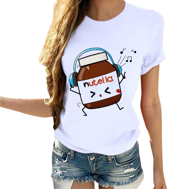 Women Cartoon Printed Nutella Fashion Rock Cute Summer Clothing T-Shirt Shirt Camisa Mujer Tumblr Tee Female T Shirt Tees
