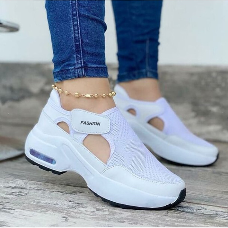 2021 Summer Vulcanized Shoes Women Sneakers Solid Color Casual Ladies Flats Platform Breathable Thic
