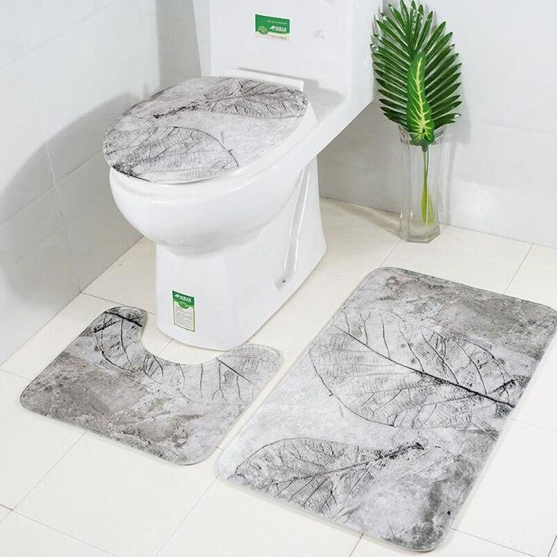 Set de 3 unidades de alfombrillas de baño clásica impresa, cubierta antideslizante para el baño, conjunto de almohadilla para Baño