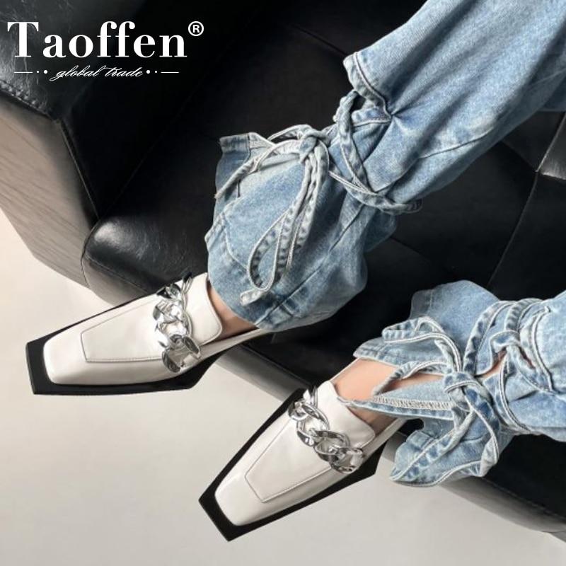 Taoffen ريال جلدية مضخات للنساء منخفضة الكعب سلاسل معدنية كول أنيق أحذية بدون كعب أنيقة الانزلاق على أحذية نسائية حجم 34-39