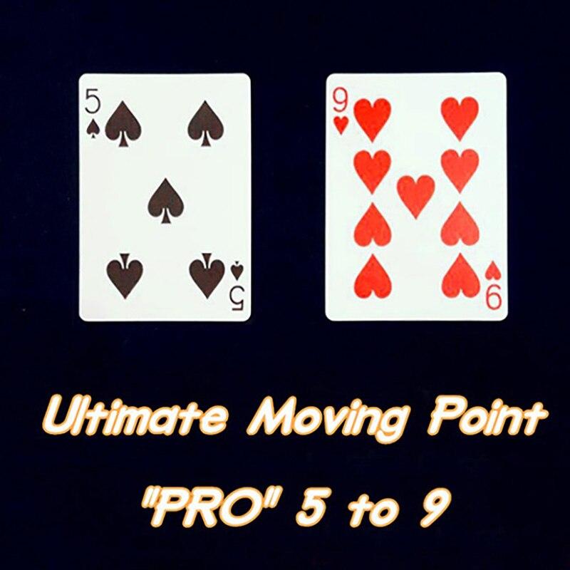 Último punto en movimiento de 5 a 9 cartas de póquer trucos de Magia de cerca ilusión de la calle truco mentalismo rompecabezas juguete Magia tarjeta