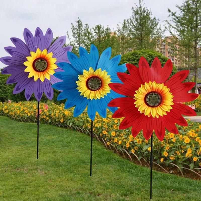 1Pc Doppel Schicht Sonnenblumen Windmühle Wind Spinner Kinder Spielzeug Hof Garten Dekoration
