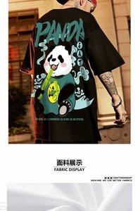 2021 New Chinese Style Men T-Shirts Summer Lucky Panda Printed Short Sleeve T shirts Hip Hop Casual Tops Tees Streetwear