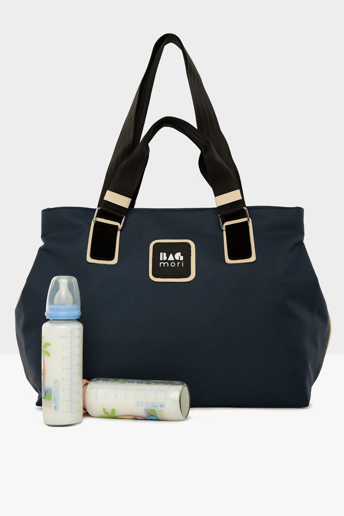 Navy Blue Women's Garnished Mother Baby Care Bag with Snap Fastener for mom lunch bag for kids breas