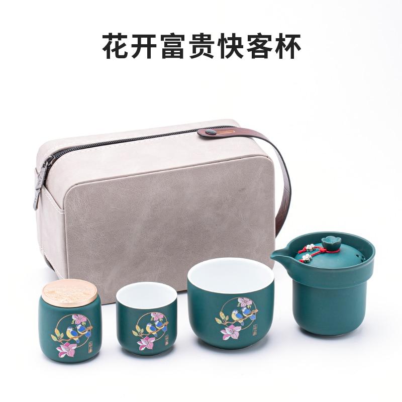 طقم شاي منزلي صيني فاخر طقم شاي محمول للسفر بعد الظهر طقم شاي بورسلين عتيق طقم شاي خزفي