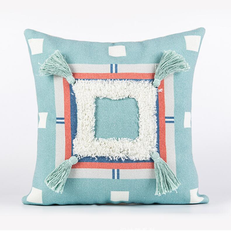 INS Tufting funda de cojín con borlas menta bordado cuadrado algodón Lino Throw Pillow Case fundas sofá cama funda de almohada