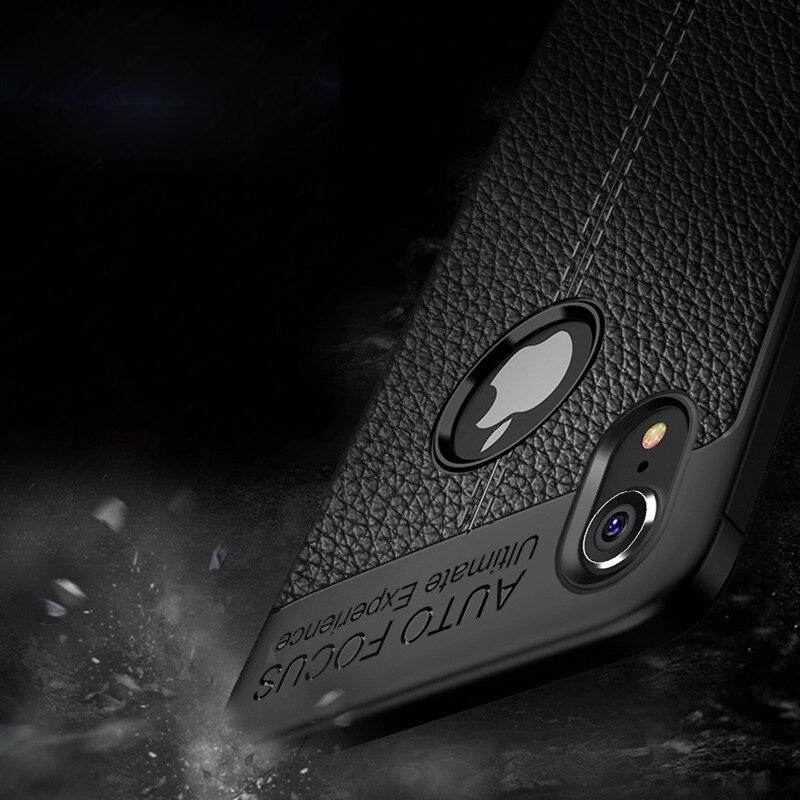 Funda para iPhone 7 8 Plus, funda de piel sintética, funda delgada de silicona para iPhone X XS Max XR 6 6s Plus, funda trasera para hombre y mujer E1