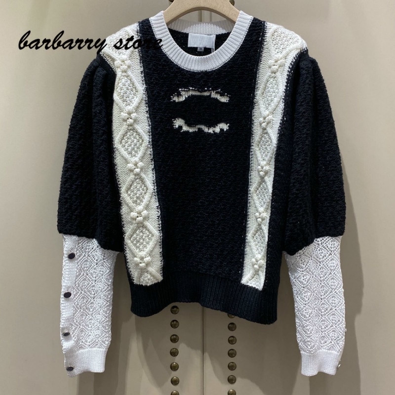 2021 luxury design contrast color splicing fashion women's long sleeve Pullover temperament versatile hollow knitted sweater enlarge