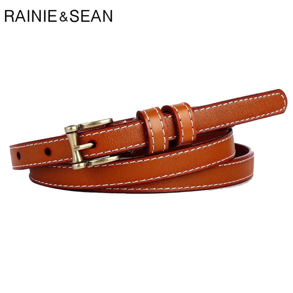 RAINIE SEAN Skinny Leather Women Belt Genuine Female Vintage Brown Thin Woman Pin Buckle Cowskin