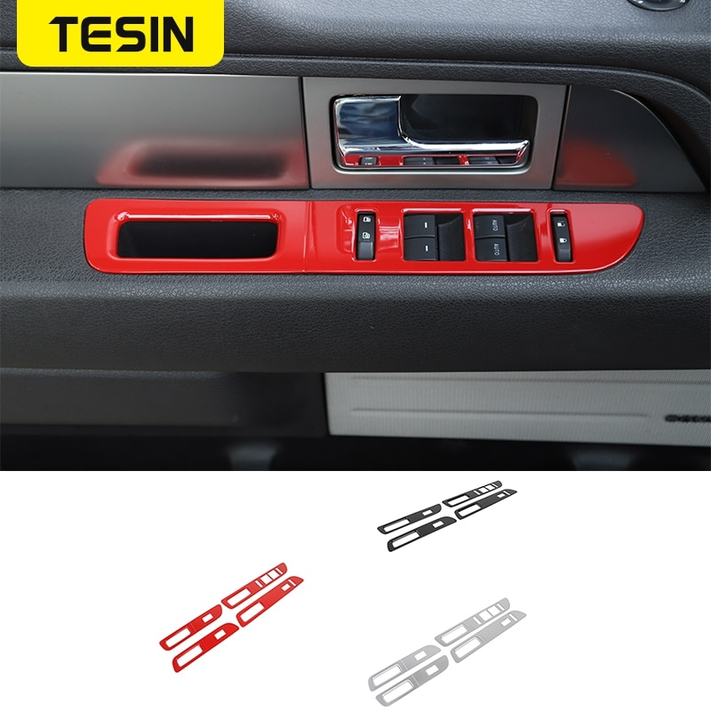 TESIN Interior Mouldings For Ford Car Window Lift Panel Switch Button Decoration Cover Stickers For Ford F150 Raptor 2009-2014