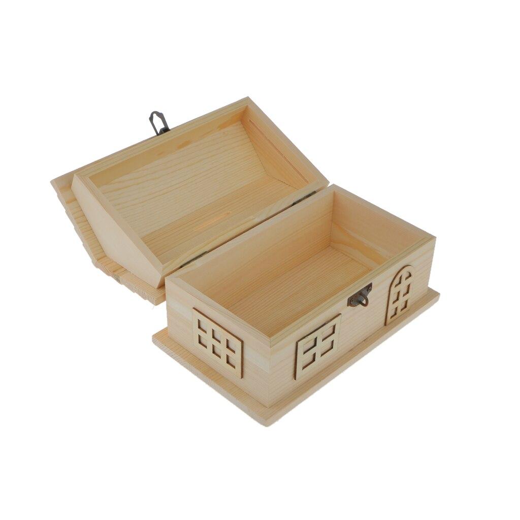 Plain Wooden Jewelry Storage Box House Shape Case Dollhouse Home Decor Gift House Shape Piggy Bank DIY Kids Crafts