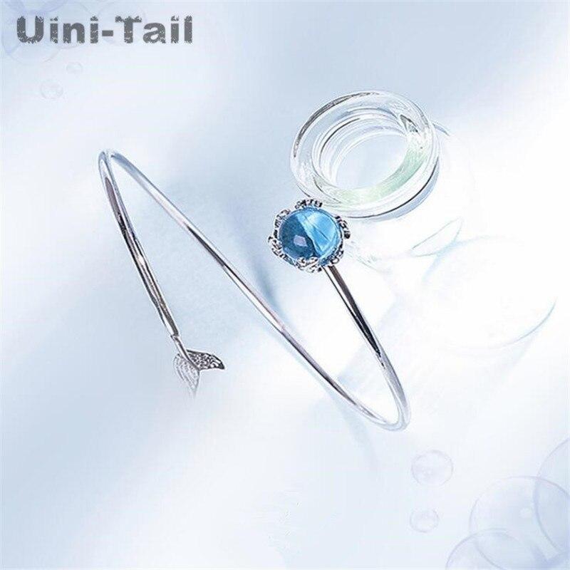 Uini-Tail, хит продаж, новинка, Стерлинговое Серебро 925 пробы, пенопласт русалки, женский браслет, tide, струящийся, сладкий, романтичный, высокое ка...