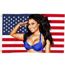 3x5ft Nicki Minaj Rap Sexy USA Flag Music Singer Star Silk Fabric Art Decor Banner
