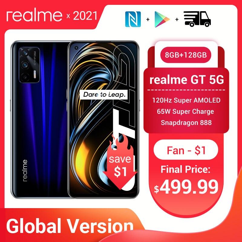 Смартфон глобальная версия realme GT, Snapdragon 888, 120 Гц, AMOLED экран, 3D стеклянный корпус, 4500 мАч, 65 Вт, суперзарядка, NFC, Android 11