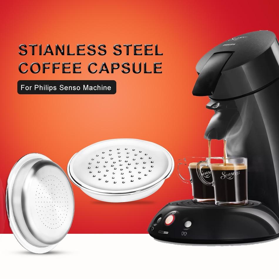 Cápsulas de café de acero inoxidable para máquina de café Philips Senseo,...