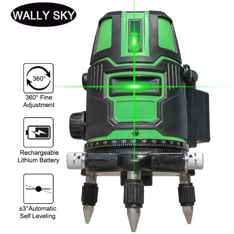 مستوى الليزر 2/3/5 المتقاطع ذاتي الاستواء ، نصف قطر أخضر ، متناوب مباشر 360 درجة ، قياس أفقي ورأسي دوار