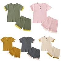summer toddler baby boys girls suits cotton kids outfits children girl clothes set kids knitted short sleeve t shirts shorts set