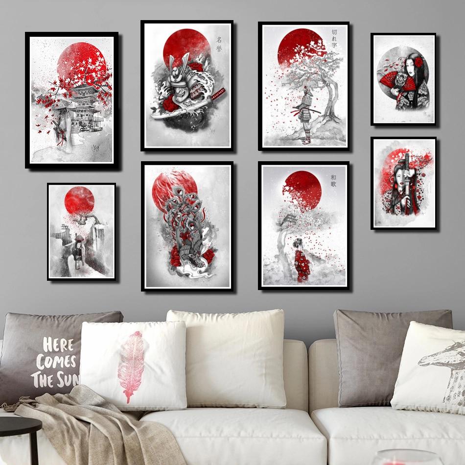 Perfecto JL Poster impresiones caliente japonés Zen Ink Bonsa Bushido Samurai Kanji pintura al óleo hogar Decoración de pared pegatinas