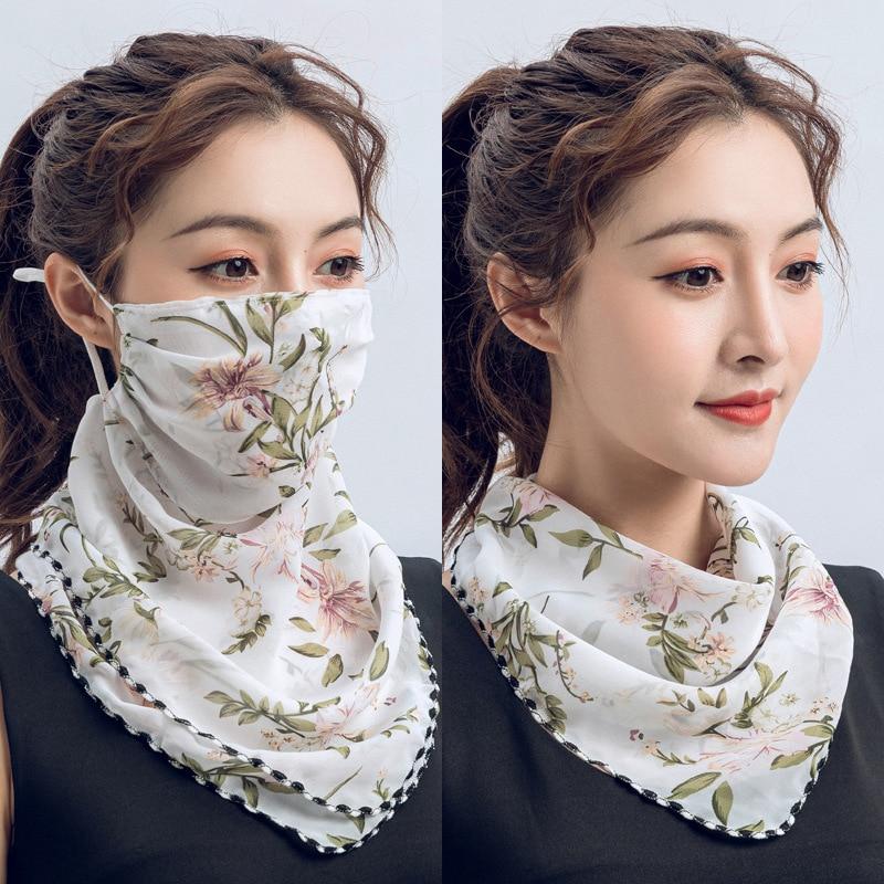 Pañuelo para la cara, cache de lujo, pañuelos de bandana para mujer, blanco, azul, foulard, mousseline, cheveux, poncho, bufanda, chal, pashmina, Diseñador