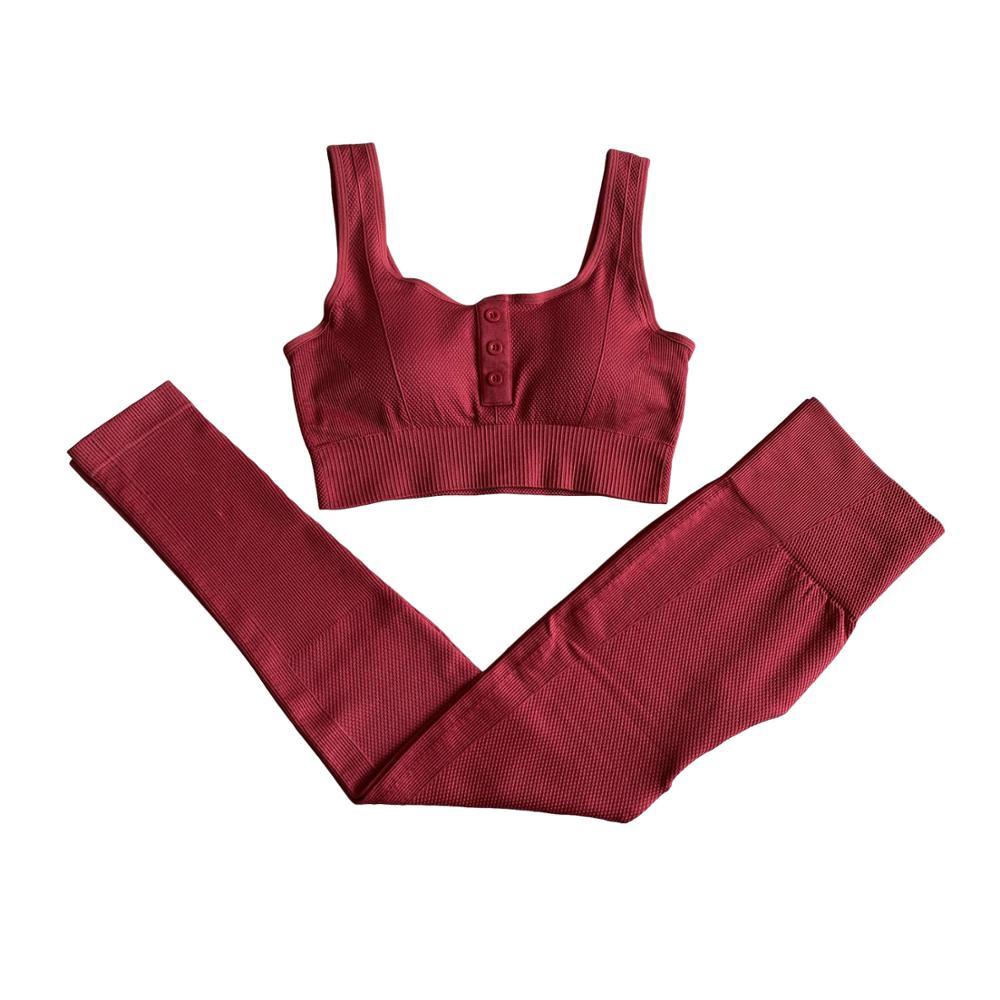 Conjunto de 2 piezas de Yoga sin costuras para mujer, conjunto deportivo con botones, sujetador deportivo + Leggings de cintura alta para Fitness, conjunto de gimnasio, ropa deportiva para entrenamiento