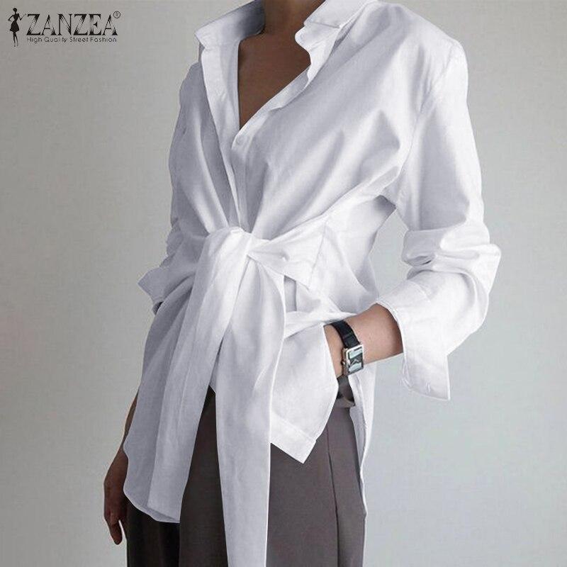 Fashion Women Long Sleeve Shirt ZANZEA Casual Lace Up Shirts Elegant Lapel Neck OL Asymmetric Tops S